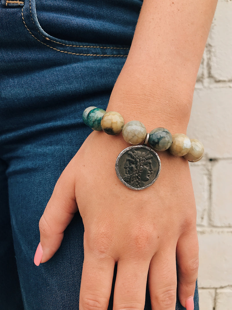 Ancient Roman Coin on Moss Agate Bracelet