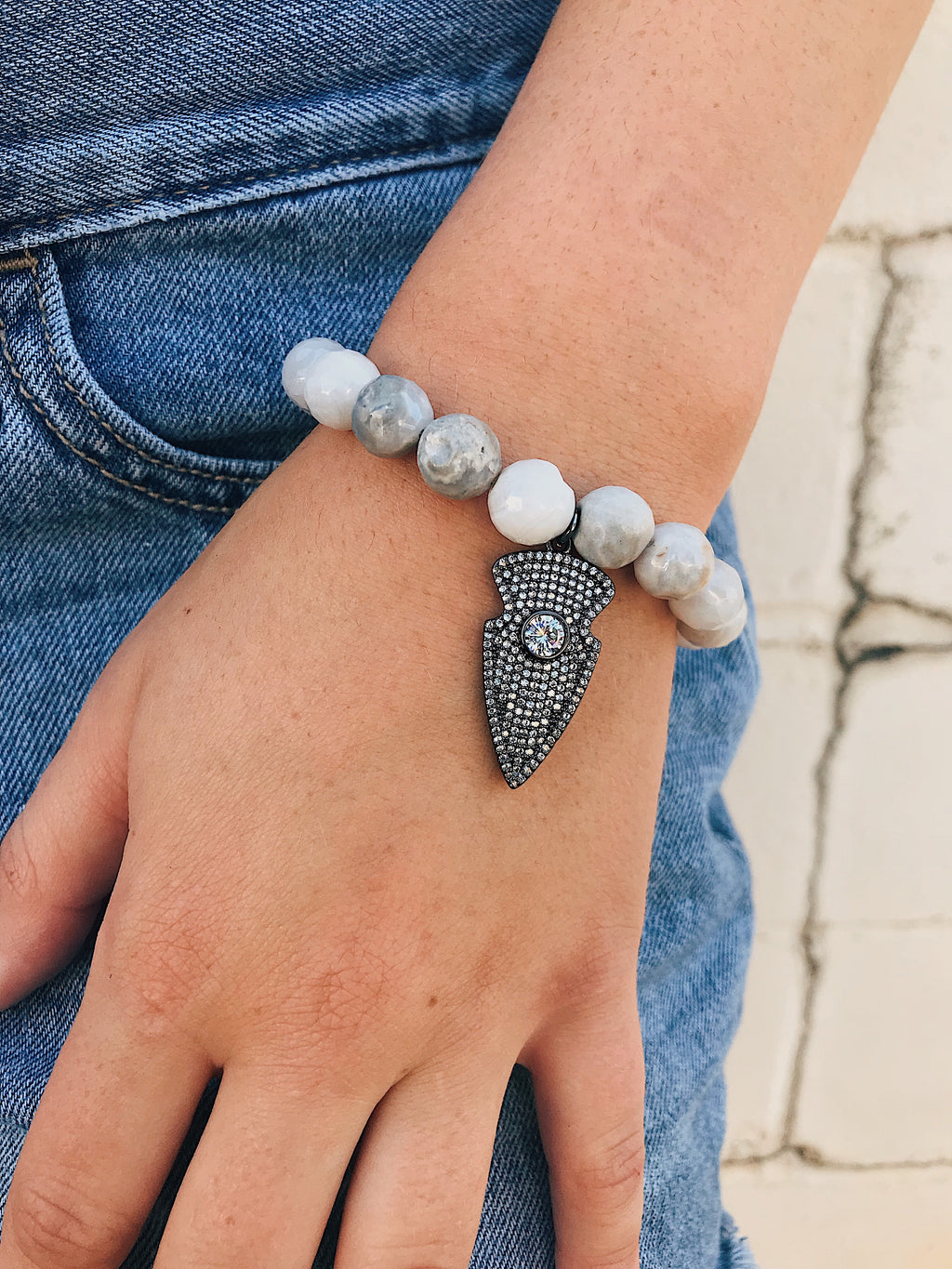 CZ Arrow on White Agate Bracelet