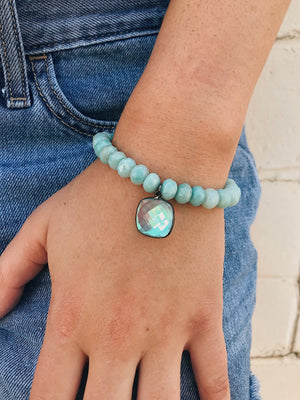 Crystal Charm on Amazonite Bracelet