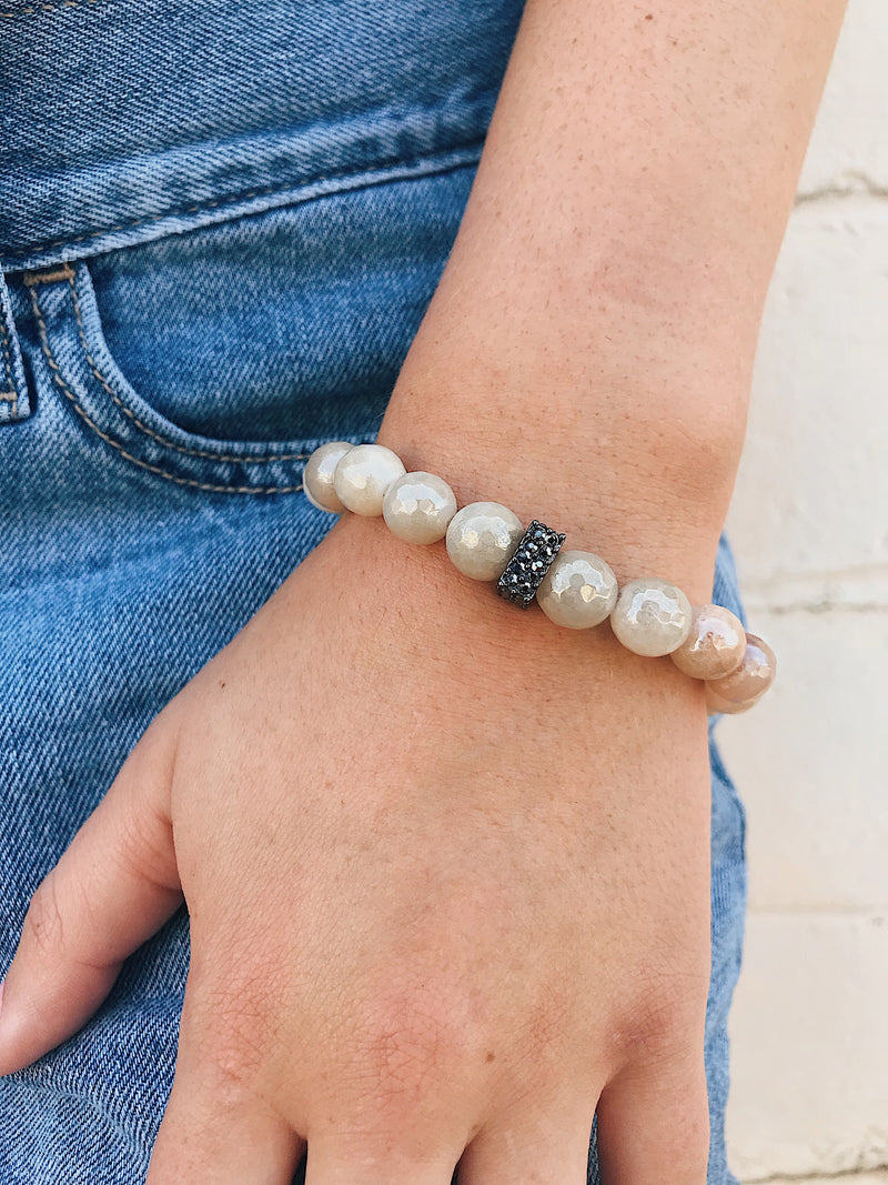 CZ Accent Bead on Coated Moonstone Bracelet