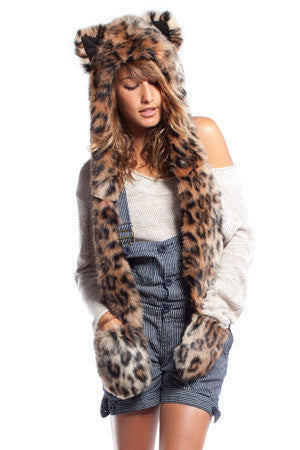 Snow Leopard Faux Fur Cap Hat Hood Dark
