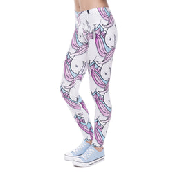 Women Leggings Printed Pink White Unicorn | Unicorn Trend-1