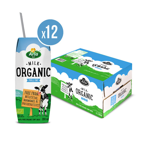Buy Organic Arla Full Fat Milk 12X 200ml Case | QualityFood.ae|Dairy & Cheese |From Arla Online food delivery Dubai Abu Dhabi and Sharjah