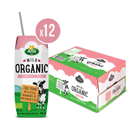 Organic Arla Strawberry UHT Milk 12X 200ml - Case