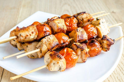 "5 Chicken Skewers "" Marinated with Garlic and light yogurt"""