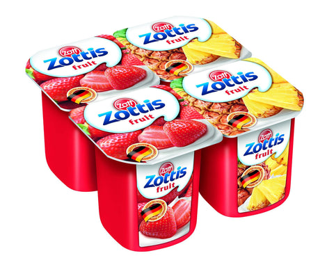 Zottis Low Fat Yogurt Strawberry / Pineapple 4 x 115gm