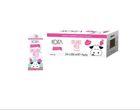 Koita Organic Strawberry Low Fat Cow Milk Pack of 24 Pcs (24 x 200ml)