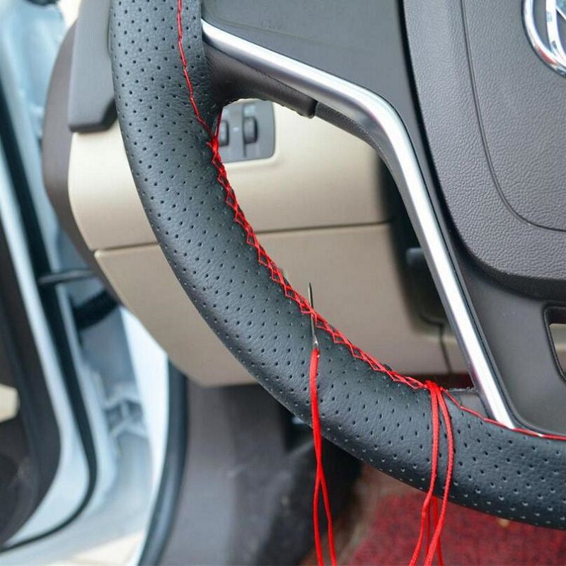 DIY Car Steering Wheel Cover With Needles and Thread Artificial leather