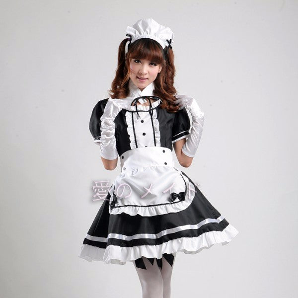 Sexy French Maid Costume Sweet Gothic Lolita Dress Anime Cosplay