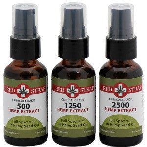 RedStrap Hemp Extract in  Organic Hemp Seed Oil and MCT Oil ** 500 mg, 1200 mg, or 2500 mg **
