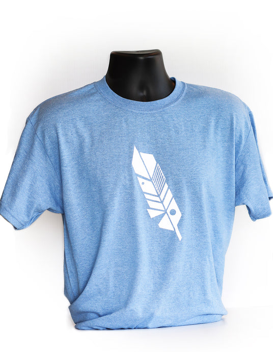 Oh So Soft - Blue Geometric Feather Tee