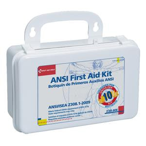 10 Unit, 64 Piece Unitized First Aid Kit /Gasket, Plastic