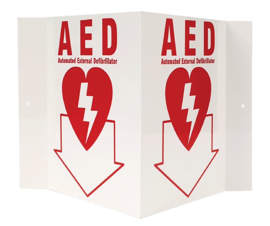 """AED"" 3-D Rigid Plastic Sign, 5"" x 6"""