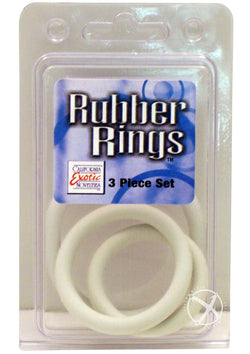 Rubber Cock Ring White 3 Piece