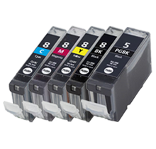 CANON Compatible CLI8 SET + PGI-5BK INK / INKJET Cartridge Set (Total - 5 Cartridges With Chip)