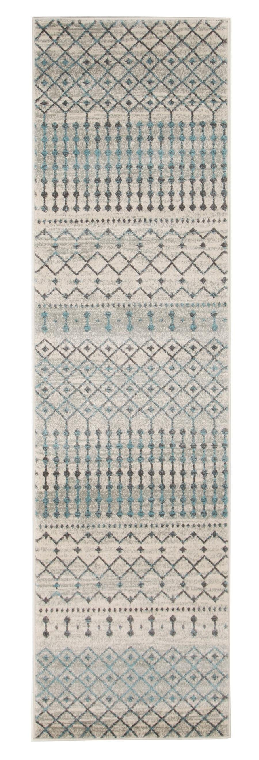 Gramercy Grey & Blue Distressed Runner Rug