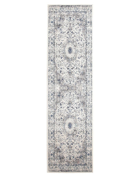 Nuuk Ivory & Blue Distressed Runner Rug
