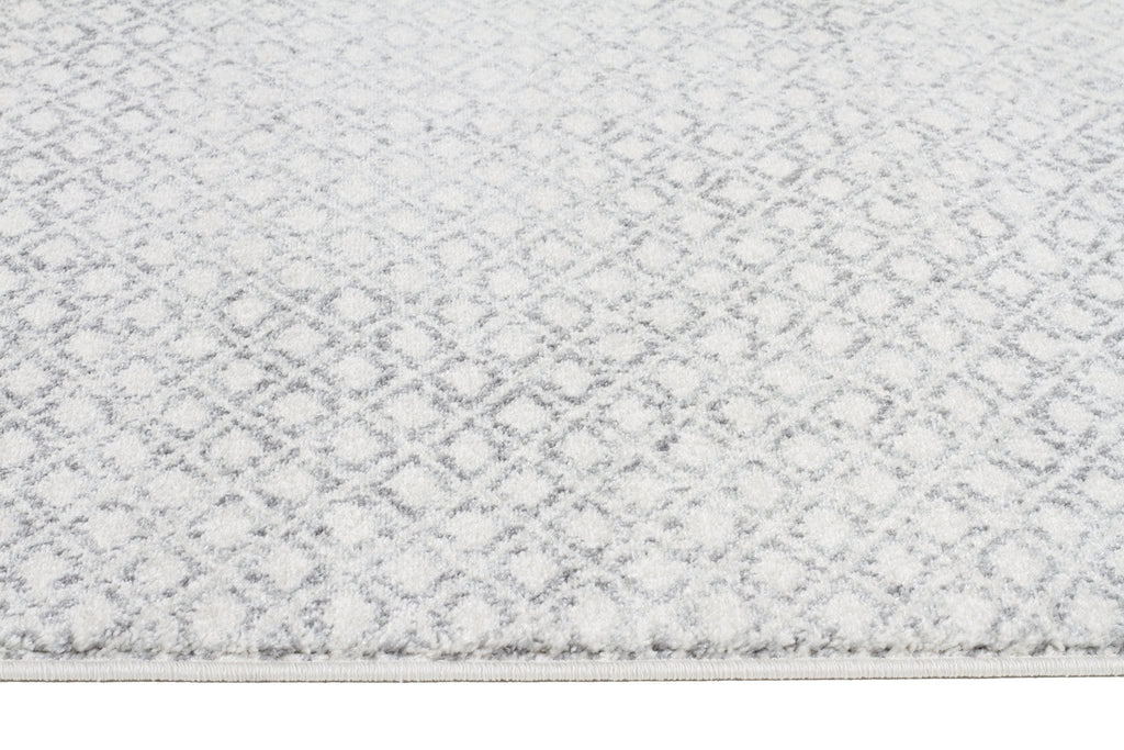 Grey And White Carpet Runner: Nile Grey Diamond Ivory Distressed Rug