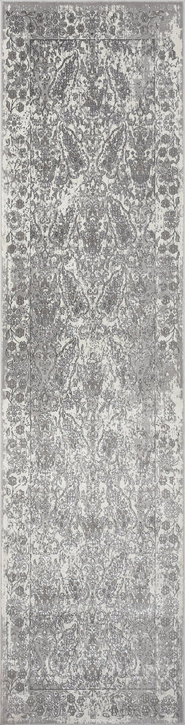 Aaerin Charcoal Grey and Ivory Traditional Distressed Runner Rug