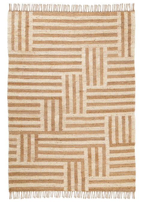 Abbie Natural and Bleached Striped Geometric Jute Rug