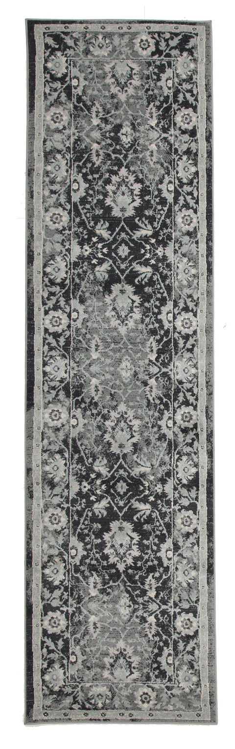 Adana Navy Grey Persian Floral Motif Transitional Runner Rug