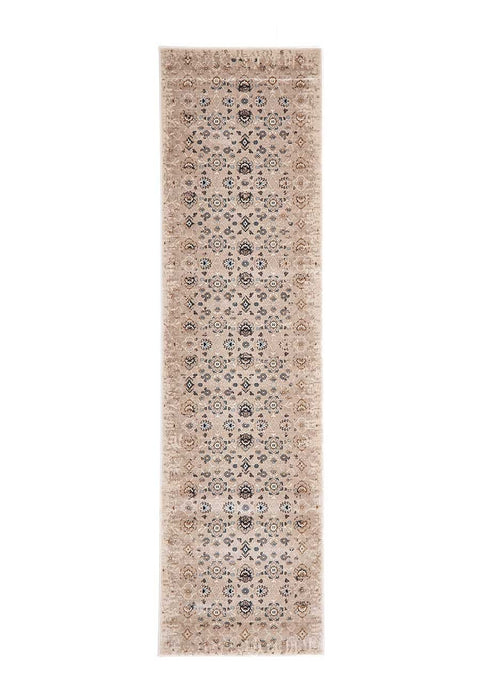 Alanya Ivory Faded Floral Motif Runner Rug
