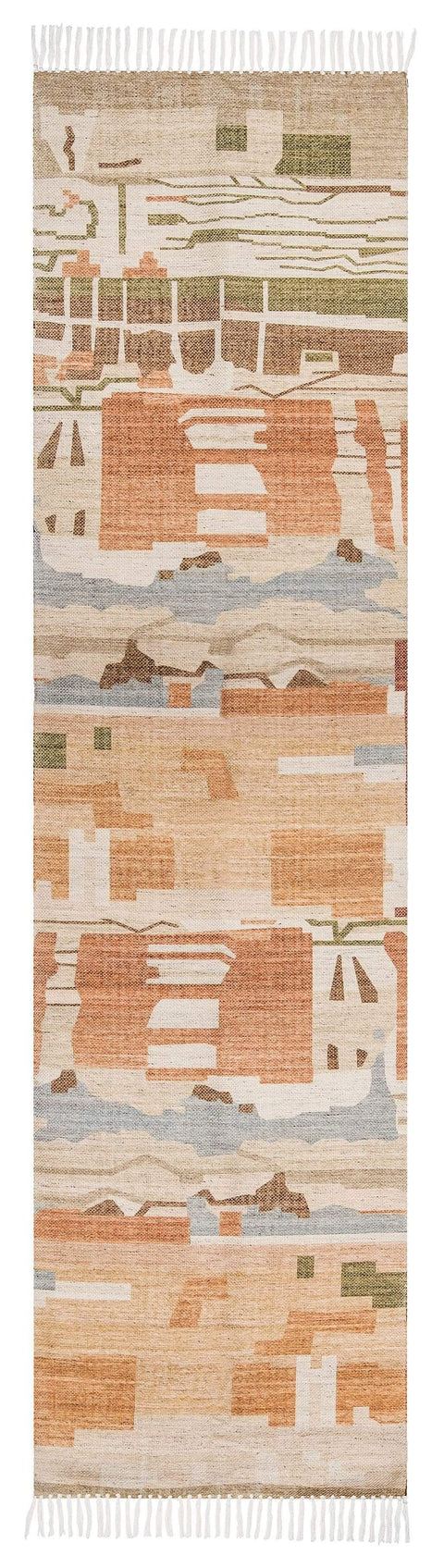 Allegra Orange and Cream Multi-Colour Abstract Tribal PET Runner Rug