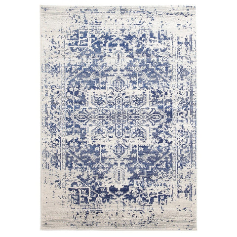 Alta Ivory & Cobalt Blue Distressed Transitional Rug