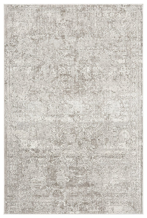 Amada Grey Ivory and Cream Traditional Floral Rug