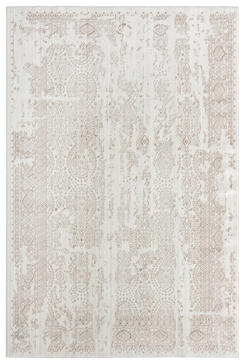 Amelia Cream Ivory and Brown Traditional Floral Rug