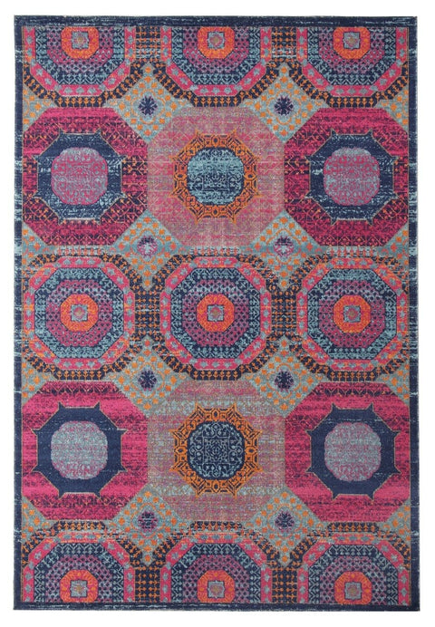 Amman Pink & Blue Distressed Rug