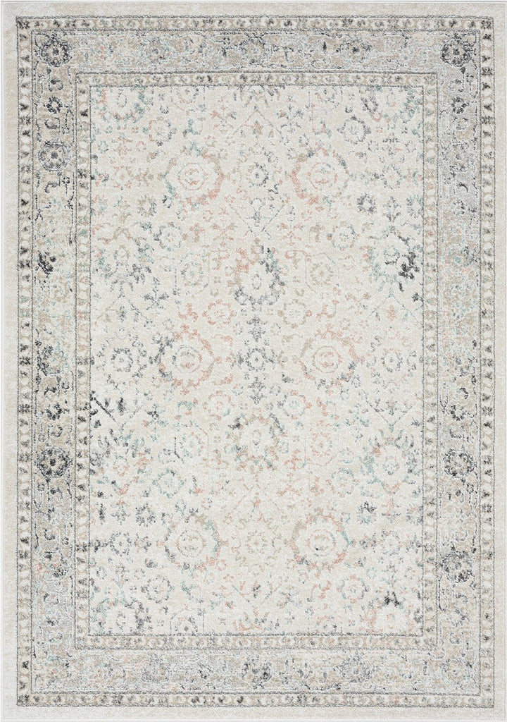 Anine Cream and Grey Multi-Colour Traditional Floral Rug