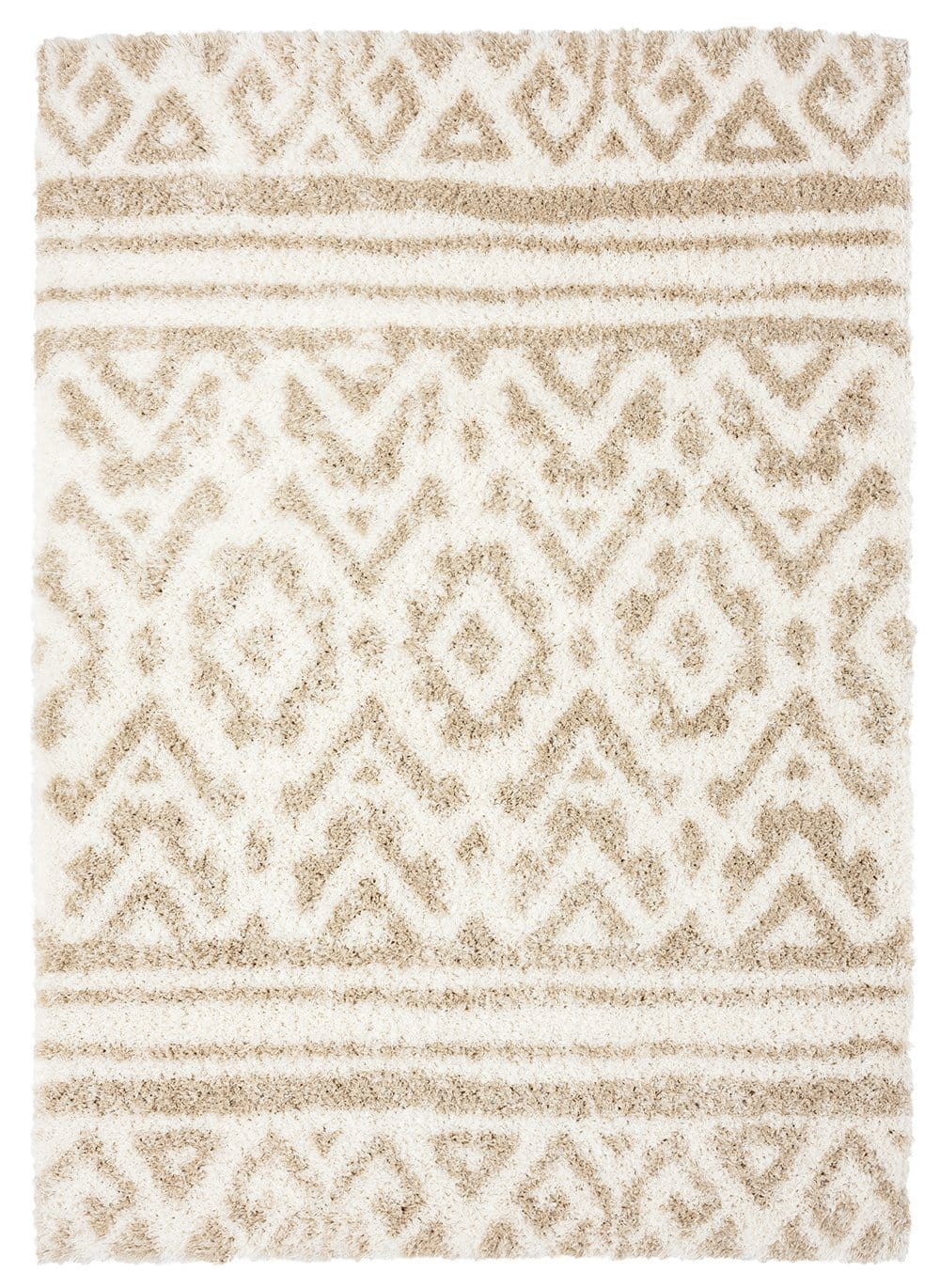 Arabella Ivory and Sand Beige Tribal Shag Rug
