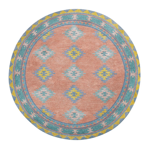 Ariel Peach and Blue Multi-Colour Diamond Tribal Round Rug