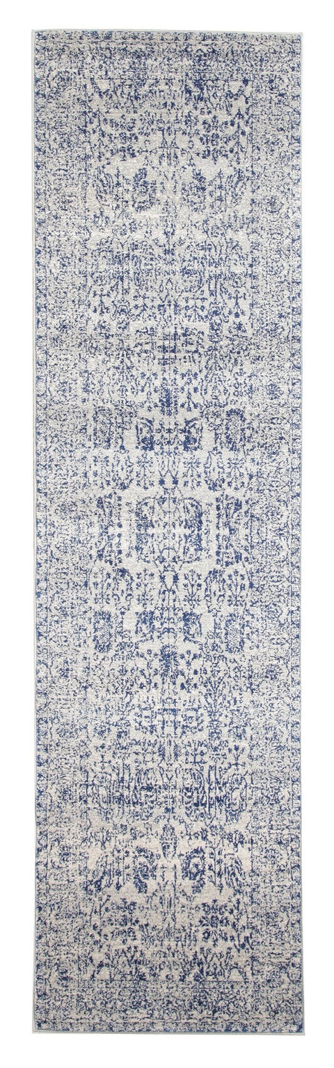 Attu Cobalt Blue Floral Transitional Runner Rug