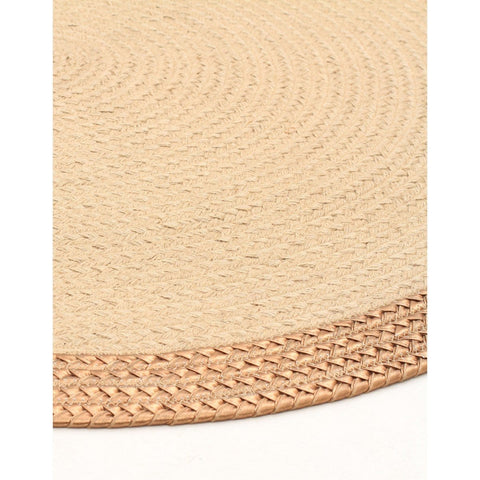 Austin Braided Jute & Copper Leather Rug