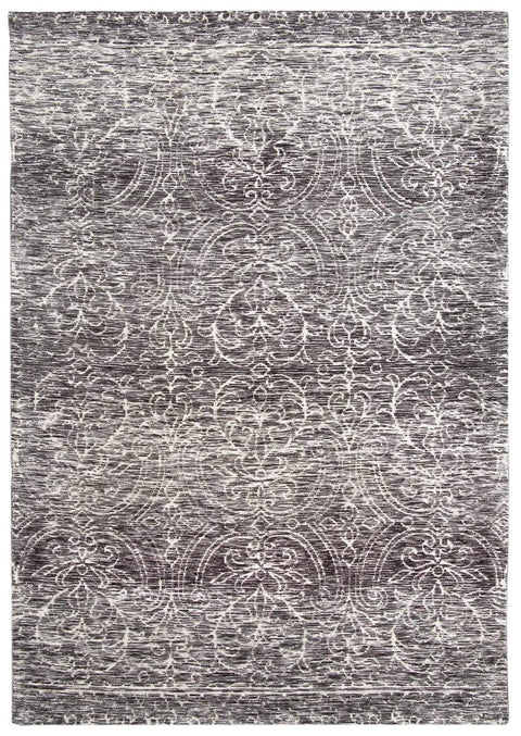 Avery Charcoal Grey and Ivory Textured Floral Motif Rug