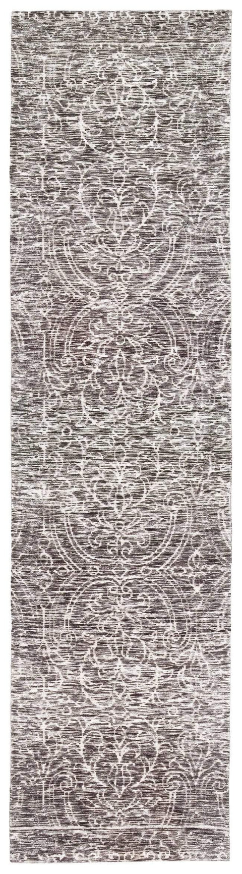 Avery Charcoal Grey and Ivory Textured Floral Motif Runner Rug