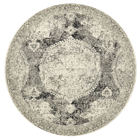 Balaken Cream & Charcoal Antique Look Medallion Round Rug