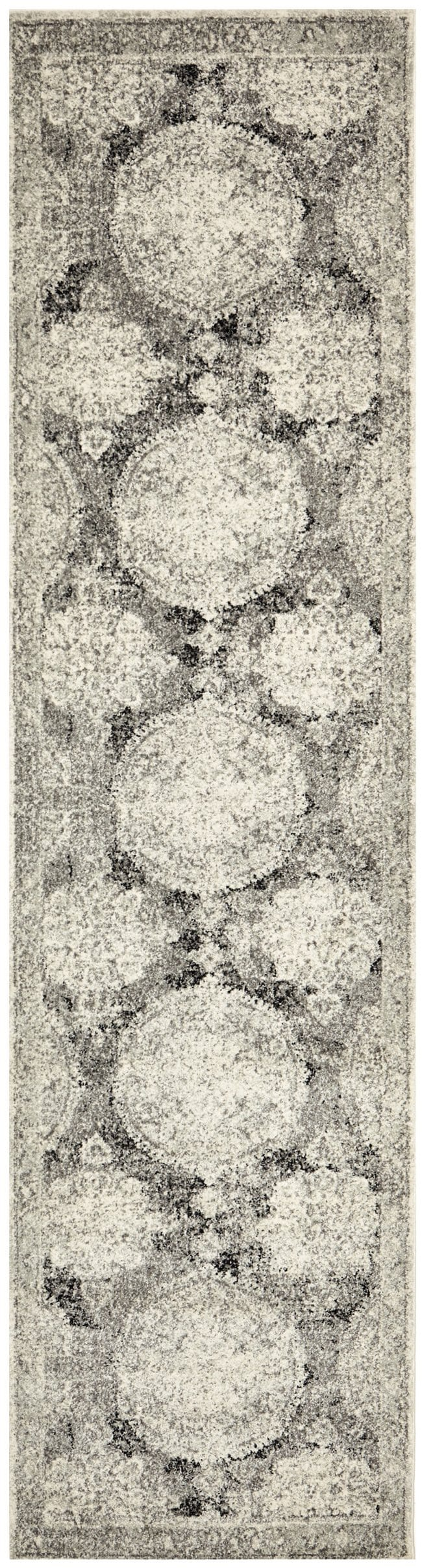 Balaken Cream and Charcoal Medallion Runner Rug
