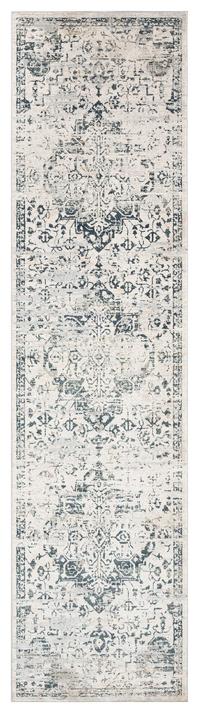 Bella Grey Ivory and Charcoal Traditional Distressed Runner Rug