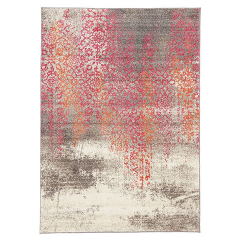 Buraimi Faded Ivory Pink Orange Floral Motif Rug