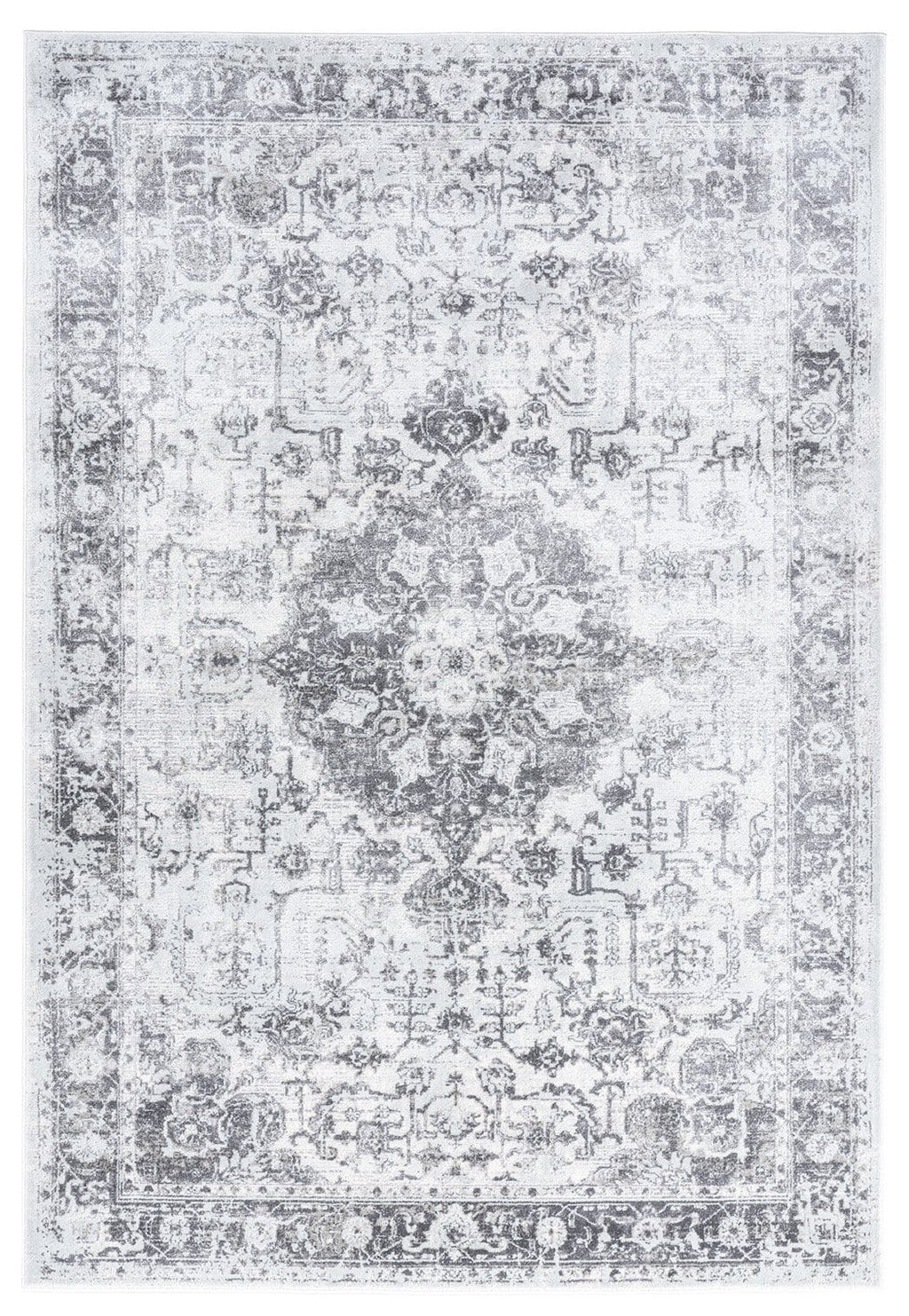 Cara Cream and Grey Transitional Medallion Rug