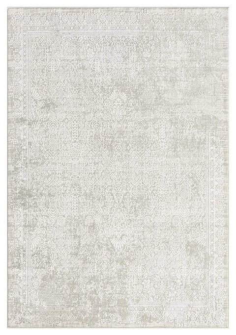 Cecilia Grey and Ivory Distressed Floral Rug