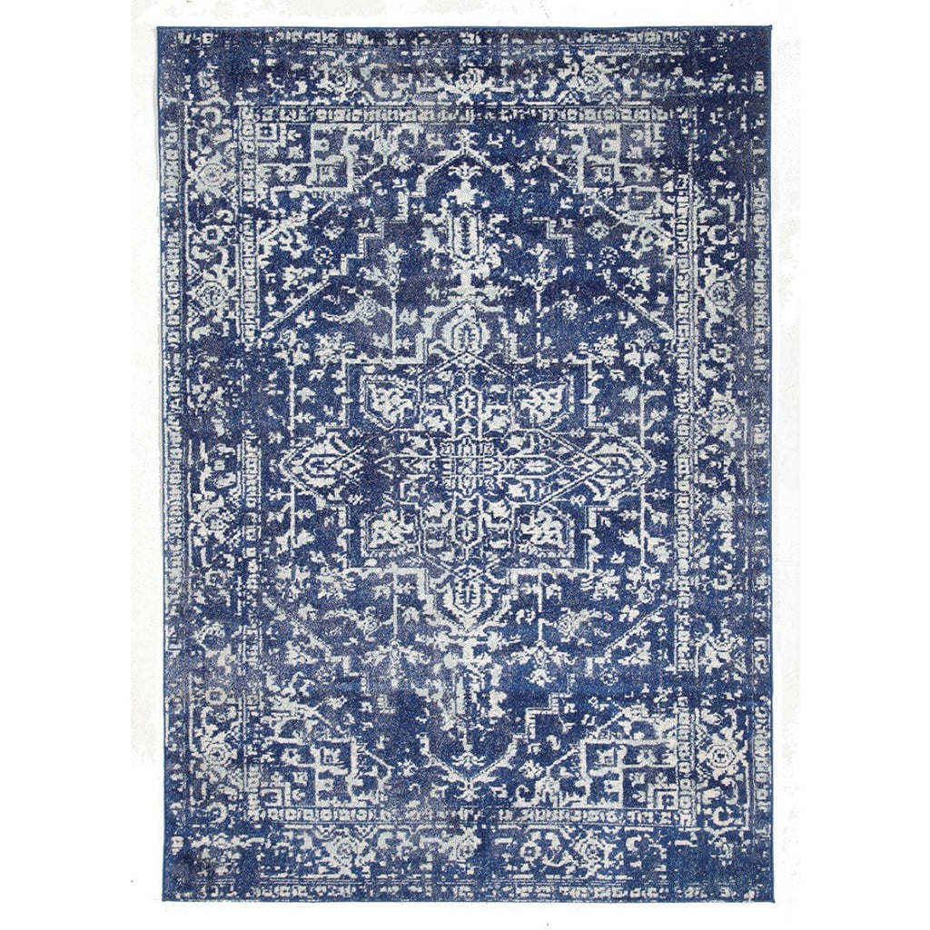 Chania Navy Blue Distressed Transitional Rug