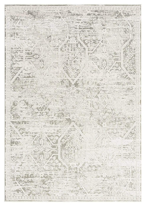 Clementine Grey and Ivory Distressed Floral Rug