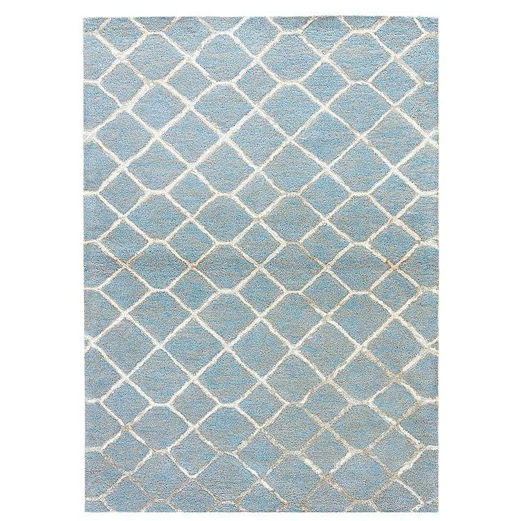 Cluny Blue Lattice Wool & Viscose Rug