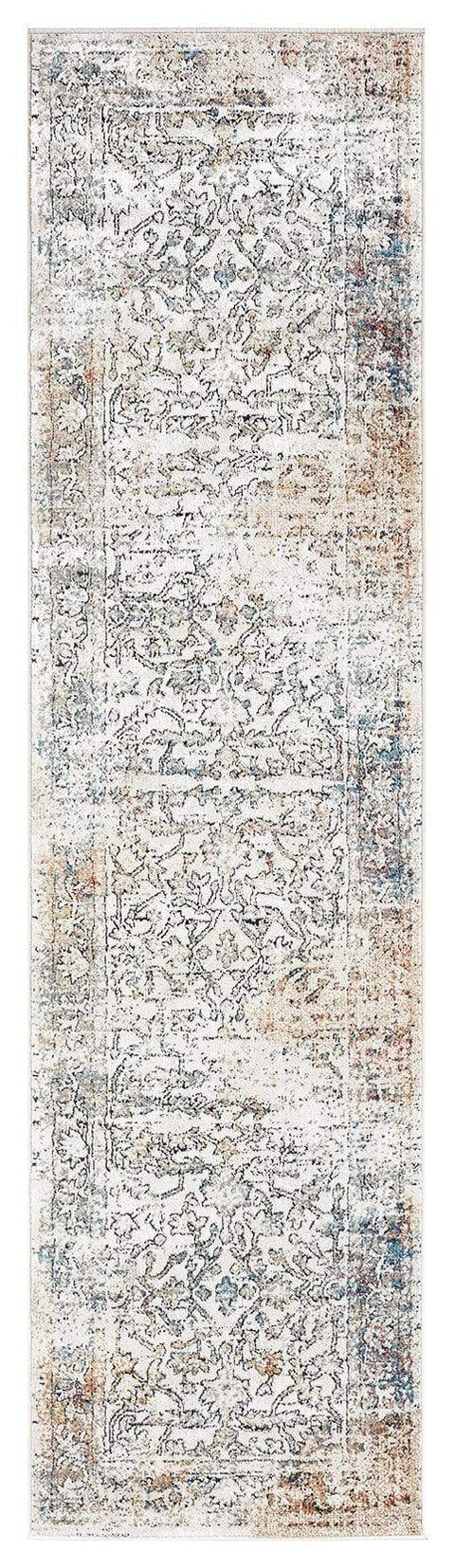 Constance Beige and Blue Distressed Floral Runner Rug
