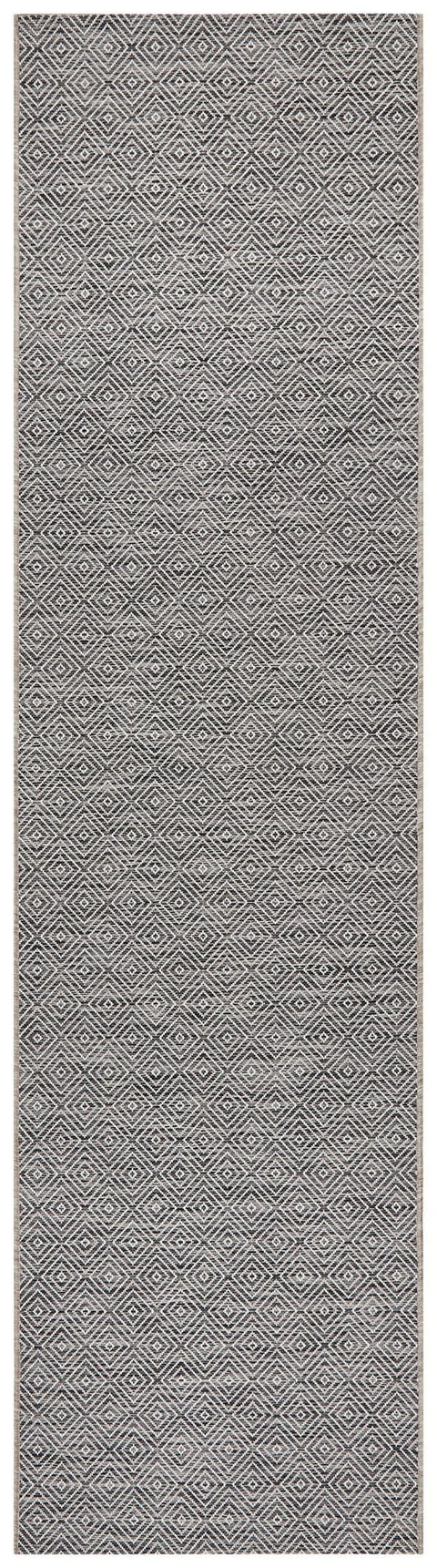 Corozal Charcoal Diamond Runner Rug