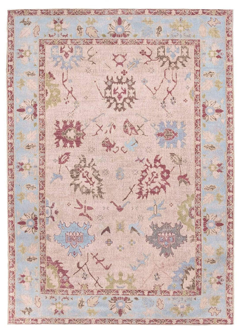 Dakota Blue and Pink Bordered Floral Rug